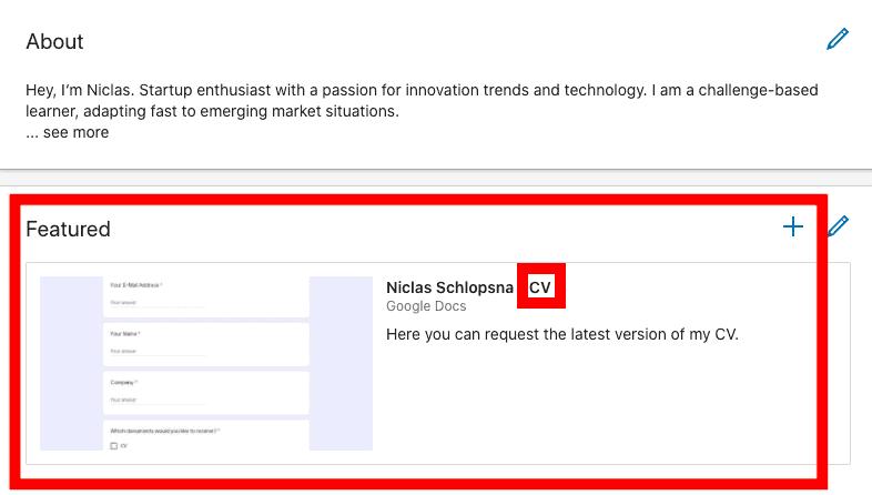 LinkedIn Resume on Profile