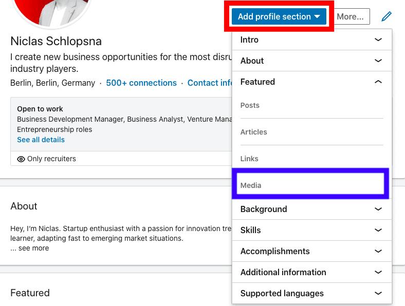 Post resume on Linkedin