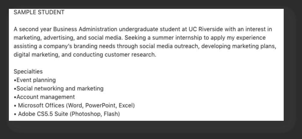 LinkedIn Summary for students